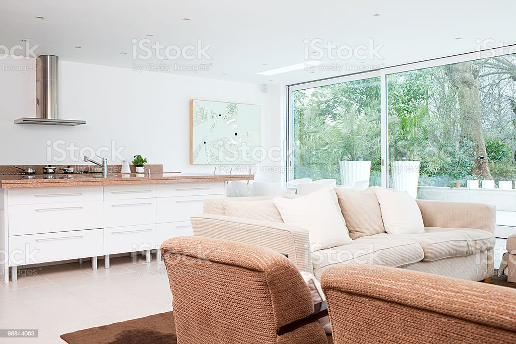 Open plan living room and kitchen stock photo