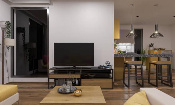 Offenes Wohnzimmer und Küche eingerichtet und beleuchtet – Foto