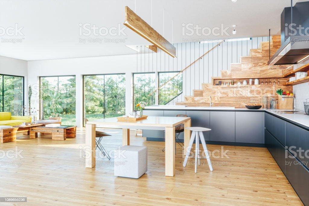 Moderne Offene Küche Und Wohnzimmer Stockfoto und mehr ...