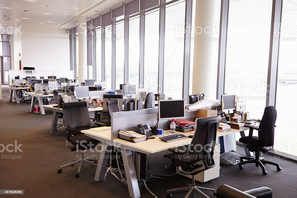 Open plan office interior without people stock photo