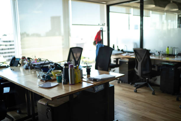 Open plan office with work stations Open plan office with work stations empty desk stock pictures, royalty-free photos & images