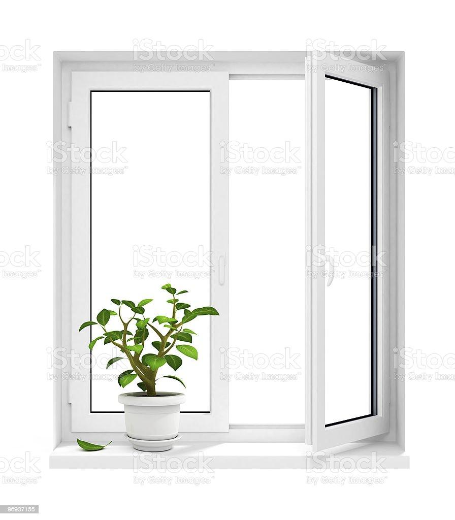open plastic window with flowerpot on windowsill royalty-free stock photo