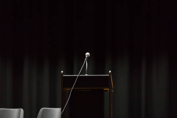 Open podium ready for speaker Open podium on stage ready for speaker pulpit stock pictures, royalty-free photos & images