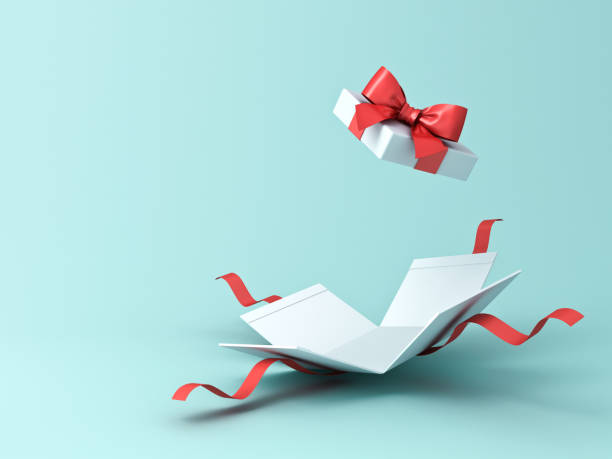 Open present box or gift box with red ribbons and bow isolated on green blue pastel color background with shadow Open present box or gift box with red ribbons and bow isolated on green blue pastel color background with shadow 3D rendering gift box stock pictures, royalty-free photos & images