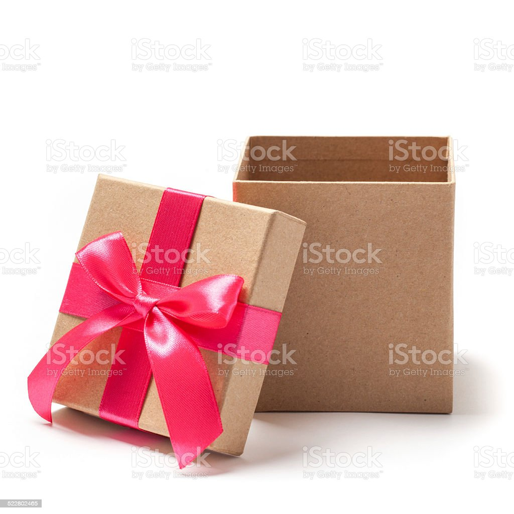 Open Present Box with Ribbon- Stock Photo stock photo