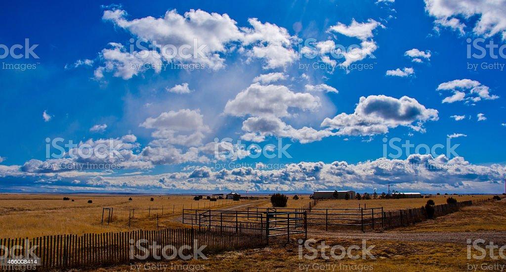Open Ranch land Texas Amarillo Sky stock photo