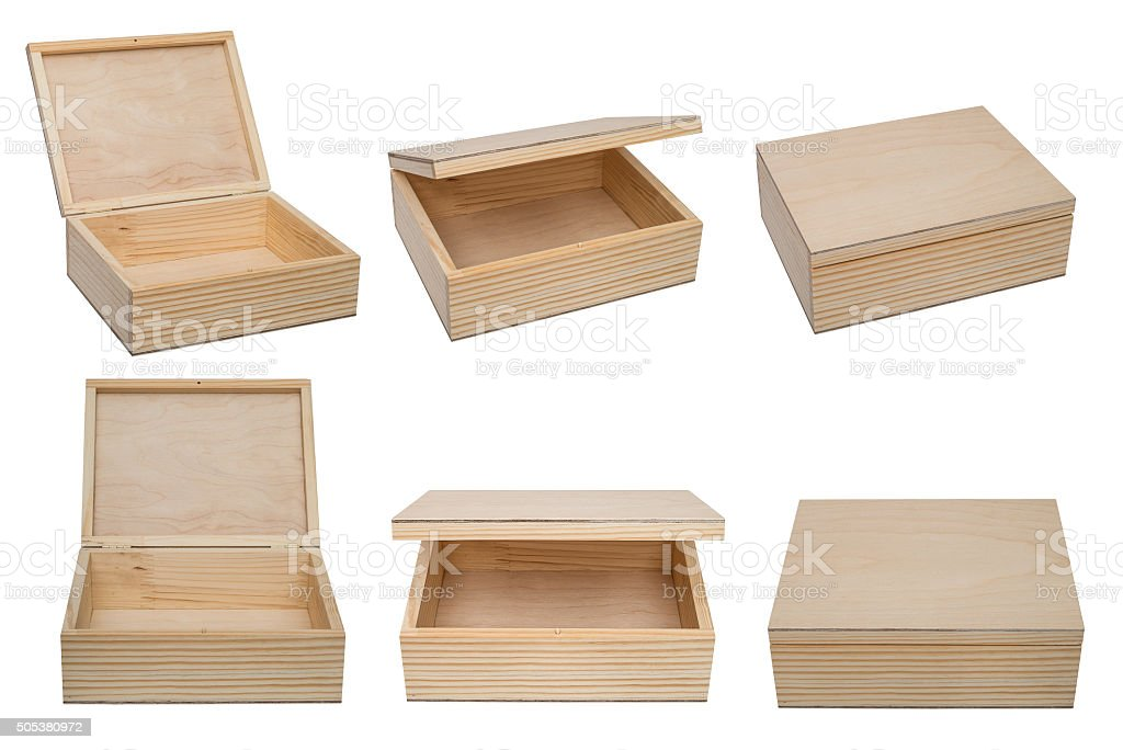 Open raw wooden box for small items. stock photo