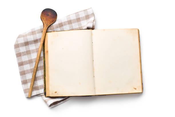 open recipe book stock photo