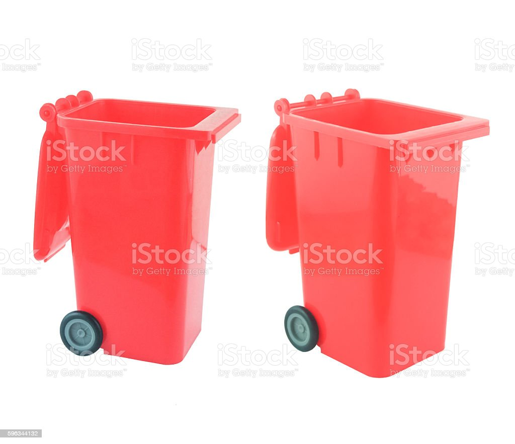 open red bin on white background royalty-free stock photo