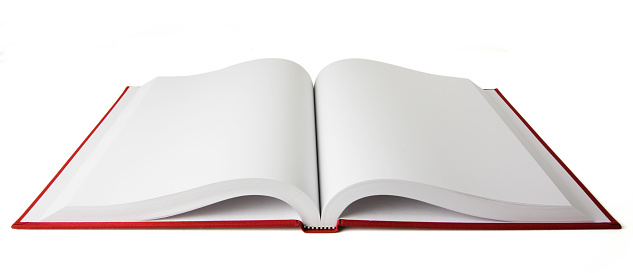 Open book with blank white pages.  Clipping path included.