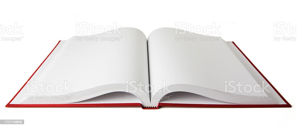 Open red book with blank white pages on a white background stock photo