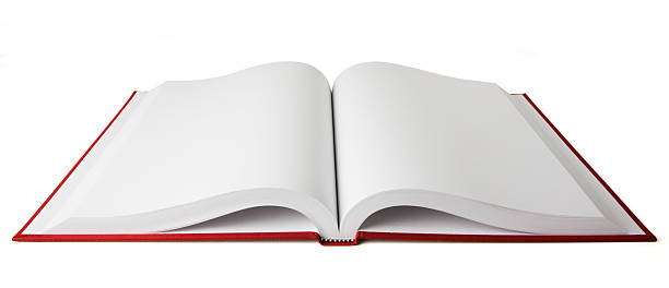 open red book with blank white pages on a white background - open stock photos and pictures