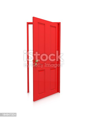 An open red door isolated on a white background. Clipping path included with file.