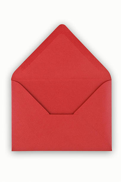 Open red envelope on white background.