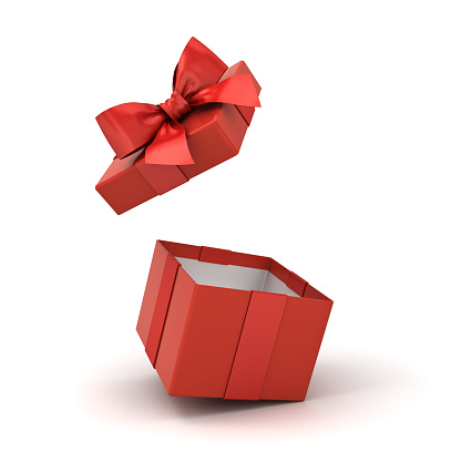 Open red gift box or blank present box with red ribbon bow isolated on white background with reflections and shadows 3D rendering