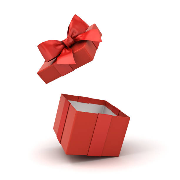 Open red gift box or blank present box with red ribbon bow isolated on white background with reflections and shadows 3D rendering Open red gift box or blank present box with red ribbon bow isolated on white background with reflections and shadows 3D rendering gift box stock pictures, royalty-free photos & images