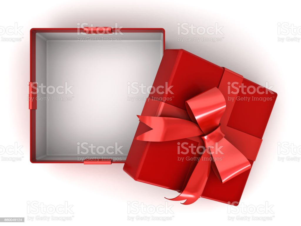 Open red gift box or present box with red ribbon bow and empty space in the box isolated on white background with shadow . 3D rendering stock photo