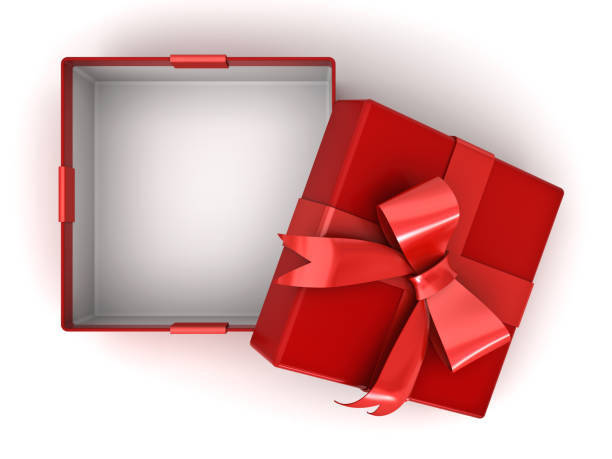 Open red gift box or present box with red ribbon bow and empty space in the box isolated on white background with shadow . 3D rendering Open red gift box or present box with red ribbon bow and empty space in the box isolated on white background with shadow . 3D rendering. gift box stock pictures, royalty-free photos & images