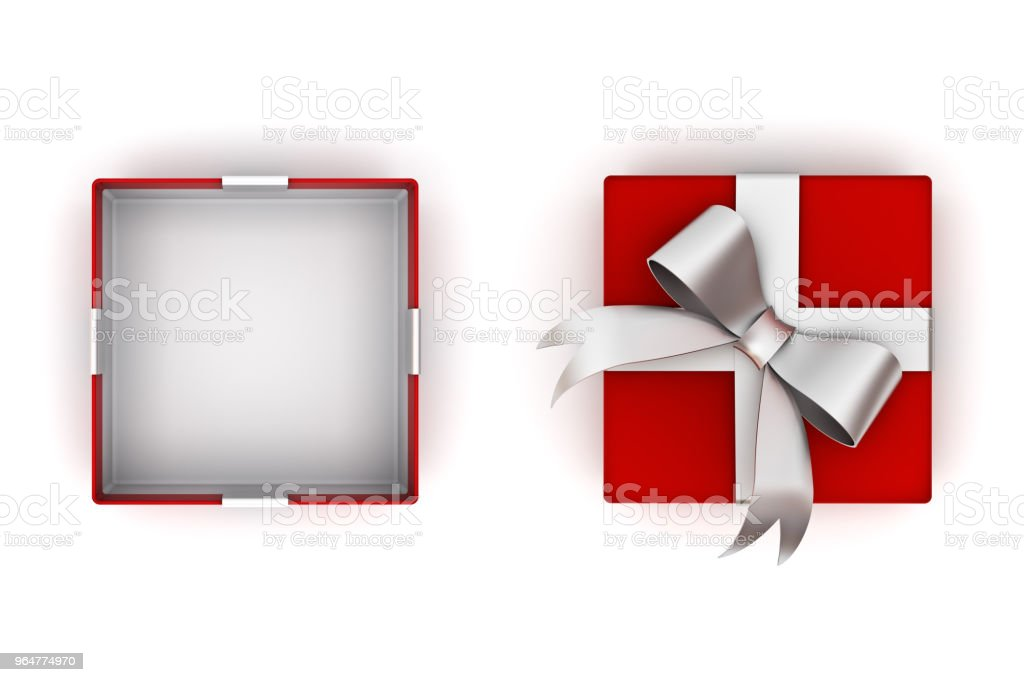 Open red gift box or present box with silver ribbon bow and empty space in the box isolated on white background with lid 3D rendering royalty-free stock photo