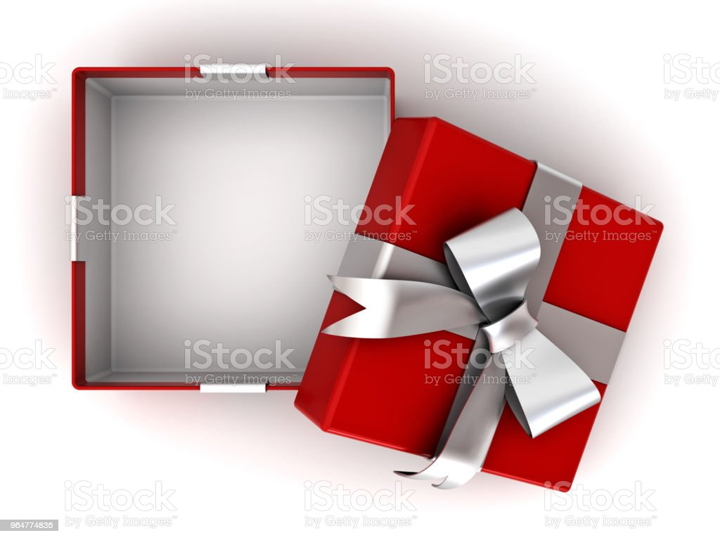 Open red gift box or present box with silver ribbon with bow and empty space in the box isolated on white background with shadow 3D rendering royalty-free stock photo