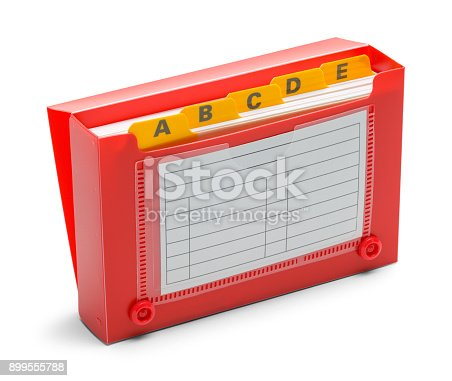 istock Open Red Index Card Holder 899555788