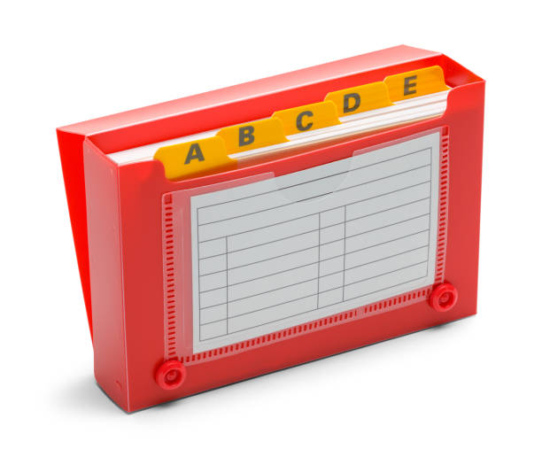 open red index card holder - address book stock photos and pictures