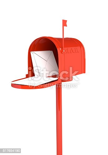 istock Open red mailbox with letters on white background.3D illustration 517654190