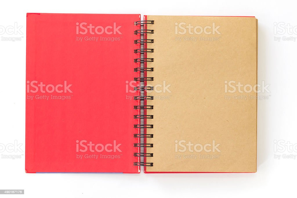 open red notebook on white background stock photo
