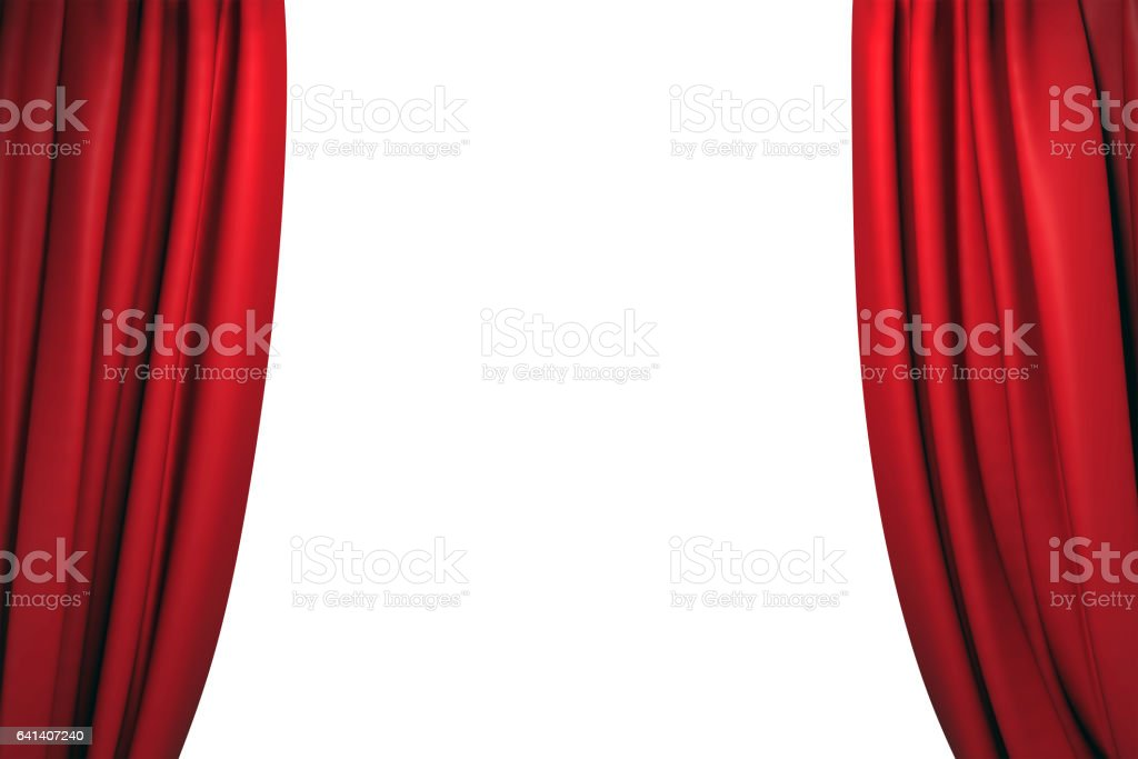 Open red stage curtains stock photo