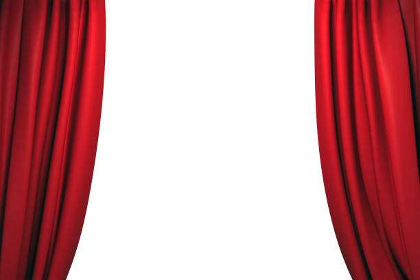 open red stage curtains - curtain stock photos and pictures