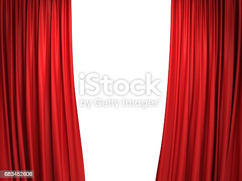 istock Open red stage curtains 683452606