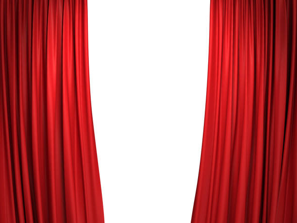 open red stage curtains - curtain stock pictures, royalty-free photos & images
