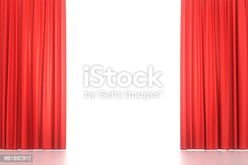 istock Open red stage curtains 691892912