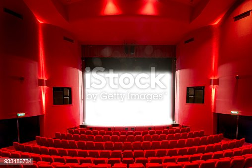 Open Red Theatre Stage Curtains