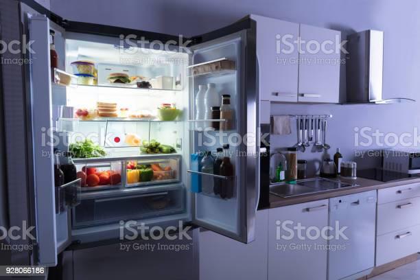 Open refrigerator in kitchen picture id928066186?b=1&k=6&m=928066186&s=612x612&h=vrxcyz khvtkmg kqawjics0amdseay0vxrf0rckliy=