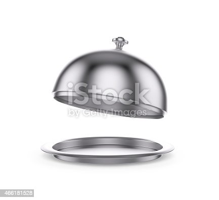 istock Open Restaurant cloche on white background 466181528