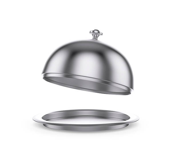 open restaurant cloche on white background - bell stock pictures, royalty-free photos & images