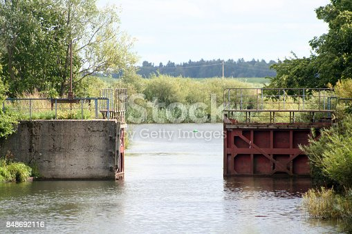 open river gate. River name is Minija. Lithuania country