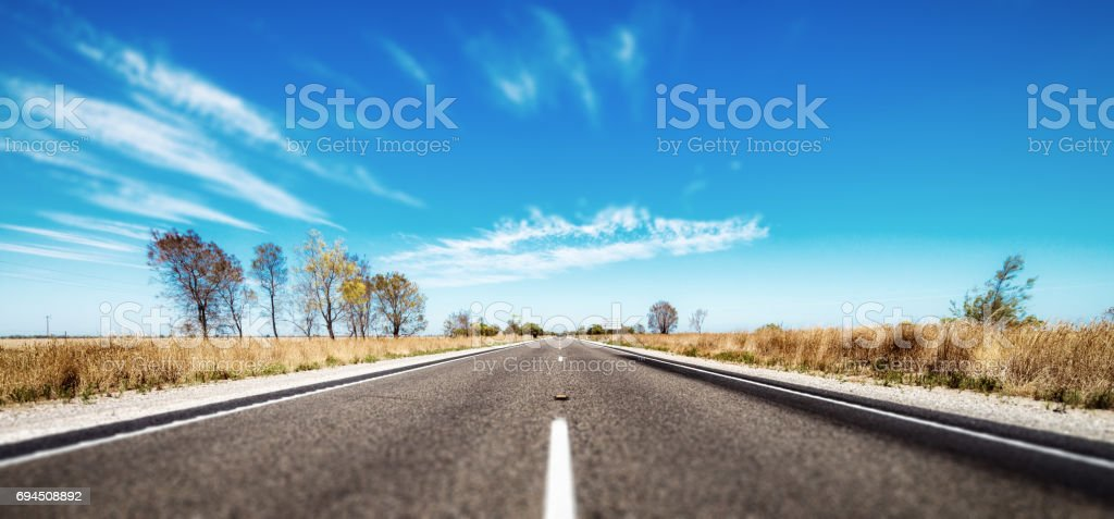 Open road in Australian outback stock photo