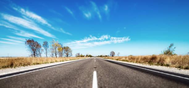 Open road in Australian outback stock photo