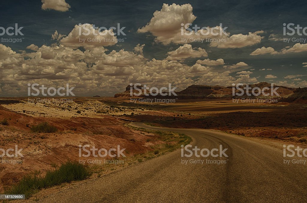 Open Road in the Utah Desert with Storm Clouds stock photo