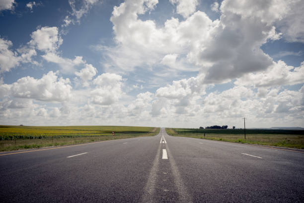 Open road leading into the distance stock photo