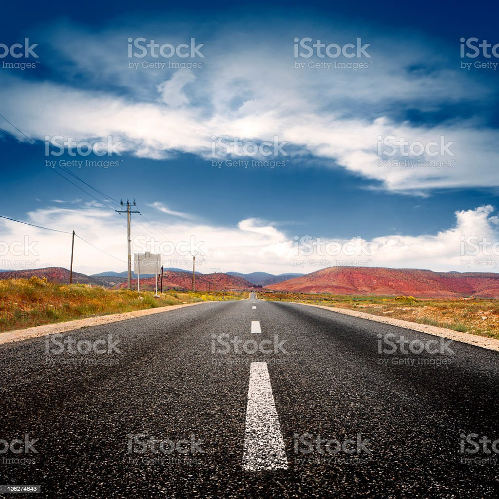 Open road with a mountain view royalty-free stock photo