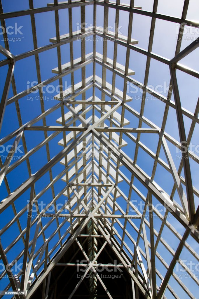 a picture of the open roof frame of the El Portal Rain Forest Center...