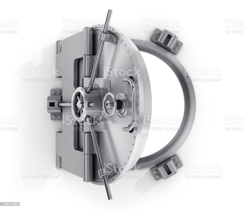 Open round door of  bank stock photo
