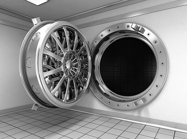Open round door of the big safe. stock photo
