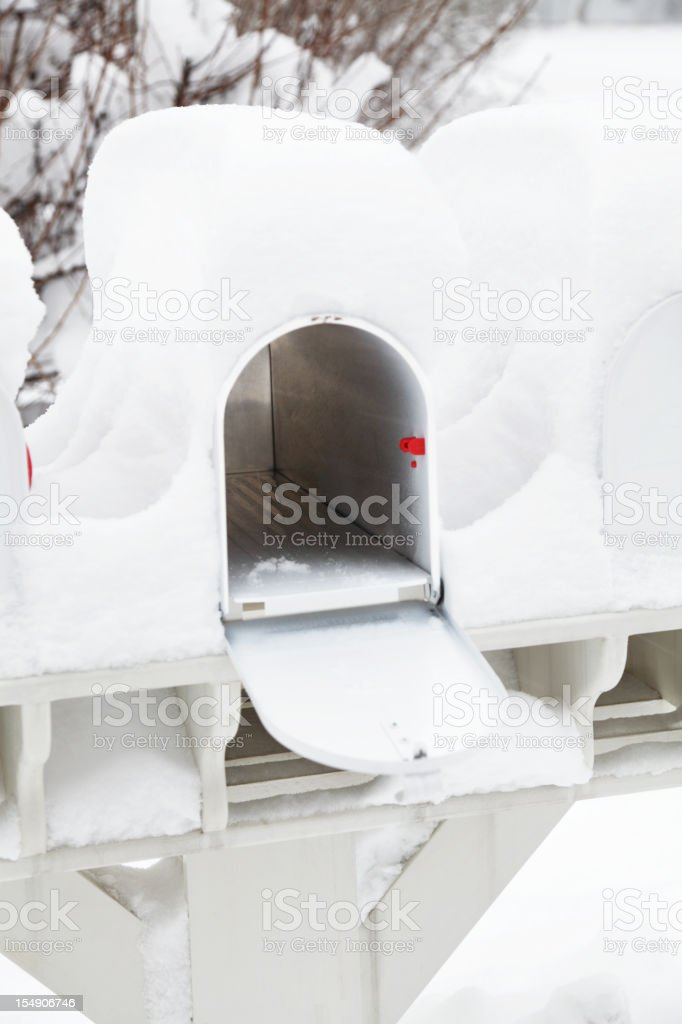 Open Rural Mailbox Covered with Winter Snow royalty-free stock photo