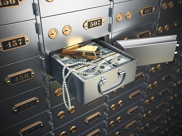 Open safe deposit box with money, jewels and golden ingot. Open safe deposit box with money, jewels and golden ingot. 3d illustration safes and vaults stock pictures, royalty-free photos & images