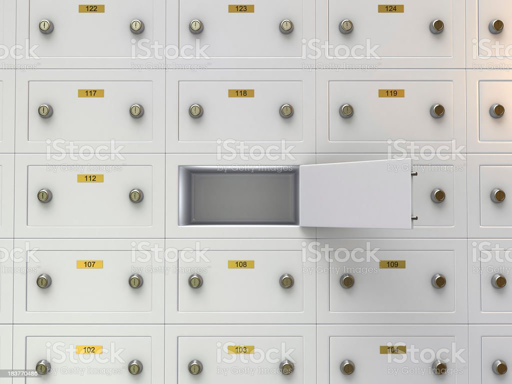 Open Safe Deposit Boxes stock photo