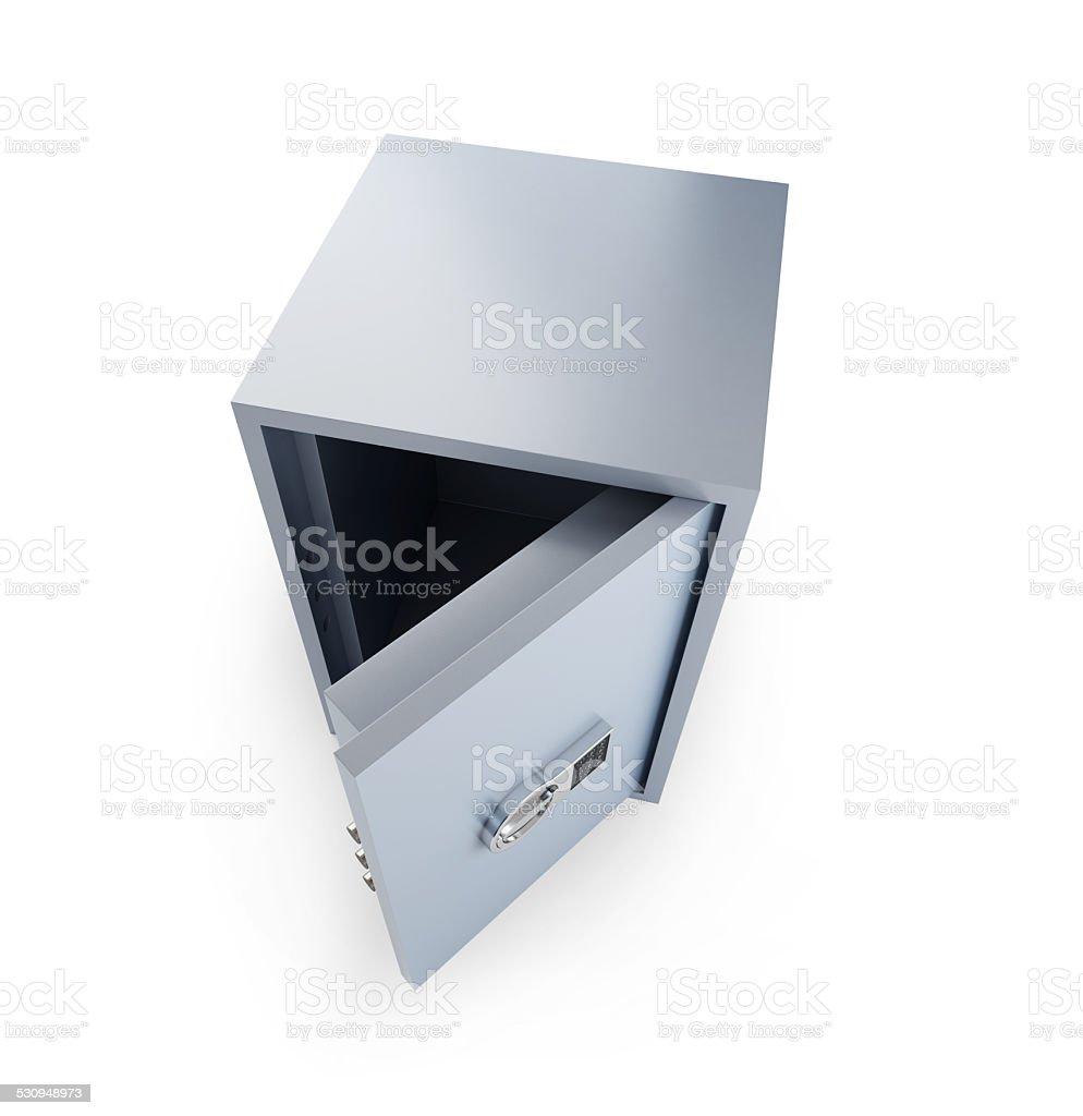 open safe on a white background stock photo